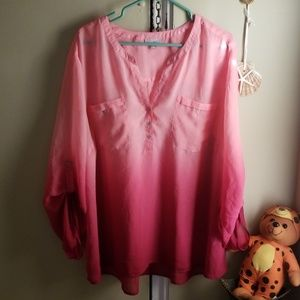 Roz & Ali sheer pink/red blouse